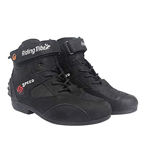 Cbfyku De La Locomotora Negro Antideslizantes Motocicleta Protectores Zapatos Cuero Moda rrqxA4wH