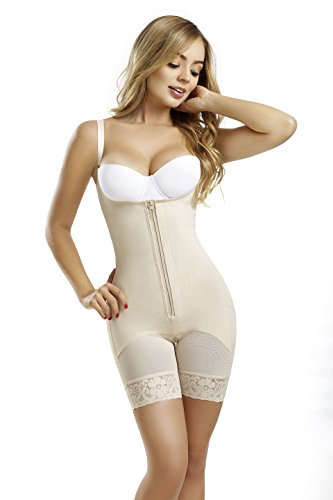 ​ Fajas Colombianas Reductoras y Moldeadoras High Compression Garments After Liposuction Full Bodysuit 0450 (Beige, Medium)