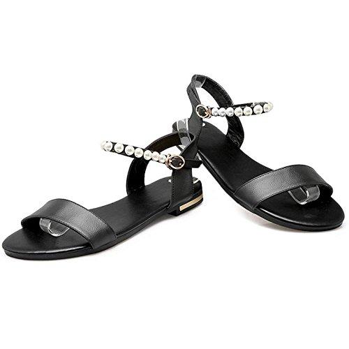 COOLCEPT Femme Mode Sangle de Cheville Sandales Bout Ouvert Slingback Plat Chaussures (38EU,Black)