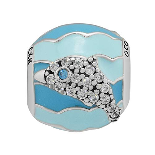 (CKK DIY ❤925 Solid Sterling Silver❤ Charm Blue Playful Dolphin Bead Charms Fit Pandora Charms Bracelets & Necklace Jewelry for Women Girls )