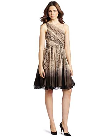 Tracy Reese Women's One Shoulder Frock, Dip Dye Python, 2