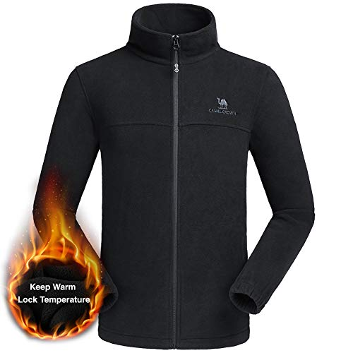 CAMEL CROWN Men Full Zip Fleece Jackets Pockets Soft Polar Fleece Coat Jacket Fall Winter Outdoor
