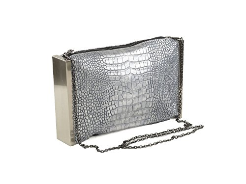Hearty Trendy Metallic Alligator Print with Metal Frame Clutch Bag -SILVER