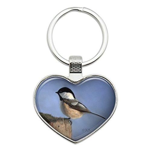 Black-Capped Chickadee Songbird Bird Heart Love Metal Keychain Key Chain Ring