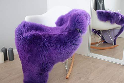 NaturalSheepskin Genuine Merino Natural Sheepskin Rug Purple Sheep Skin Throw Large Thic Wool Cover Super Soft Large (115x70cm) Dyed Sheepskin