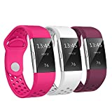 SWEES Silicone Bands Compatible Fitbit Charge 2, 3 Packs Sport Breathable Replacement Bands Women Men Small & Large (5.7'' - 8.3''), Black, Grey, Navy Blue, Pink, White, Teal