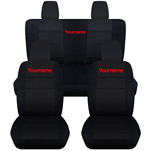 Totally Covers Fits 2011-2018 Jeep Wrangler JK Black Seat Covers w Your Name/Text: Black w Red - Full Set: Front & Rear (22 Colors) 2012 2013 2014 2015 2016 2017 ()