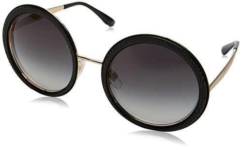 Dolce & Gabbana Women's Grosgrain Round Sunglasses, Black/Grey, One Size
