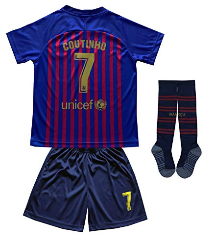 Da Games Youth Sportswear Barcelona Coutinho 10 Kids Home Soccer Jersey/Shorts Football Socks Set (Home, 6-7 YEARS) ()