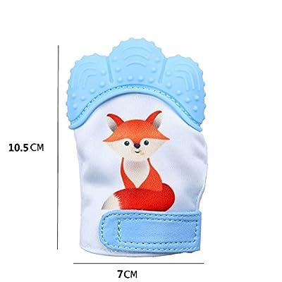 Jiquan Baby Teething Mitten, BPA Free Food Grade Teething Mitt for Gum Pain Relief, Cartoon Fox Pattern (Blue)