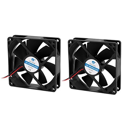 uxcell 2Pcs 92x 92x 25mm 24V CPU Cooler Heatsink Cooling Fan Black Power 3.6W by uxcell (Image #3)