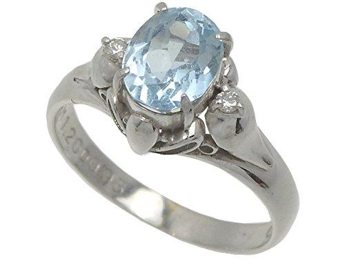 アクアマリン ダイヤモンド リング レディース Pt900 9.5号 A1.20ct/D0.03ct 4.1g プラチナ 指輪 B074DD4WGV