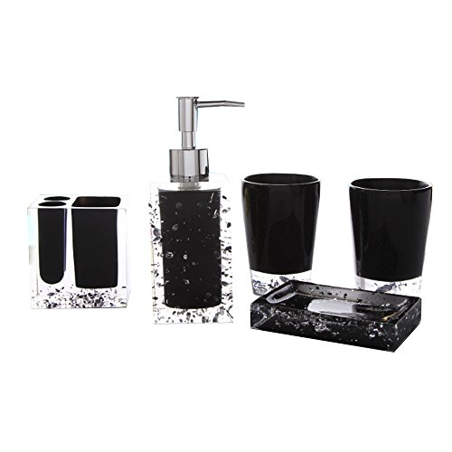 Generic 5-Piece Resin Bathroom Accessory Set with Soap Dish, Dispenser, Toothbrush Holder and Tumbler, Black by Generic
