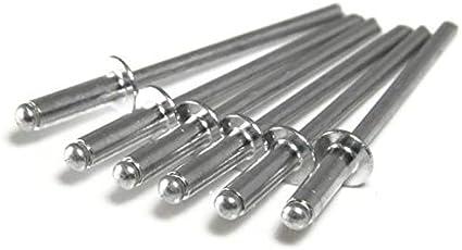 1//8 x 1//16 Grip 0.032-0.062 Aluminum Pop Rivets 1//8#4 Blind Rivets 4-1 Qty 1000