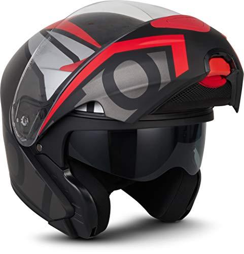 "MOTOHelmets® F19 ""Runner Red"" · Motorrad-Helm · Klapp-Helm Modular-Helm Flip-up Integral-Helm Motorrad-Helm Roller-Helm Cruiser · ECE 22.05 Sonnenvisier Schnellverschluss Tasche L (59-60cm)"