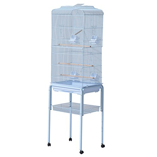 "PawHut 63"" Metal Indoor Bird Cage Starter Kit With Detachable Rolling Stand, Storage Basket, And Accessories, White"