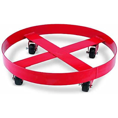 Image of Dollies Lumax Red LX-1722 24 inch Band Dolly for use with 55 Gallon/400 lbs Containers. Baked Enamel Finish. Four Ball Bearing Type Swivel casters. Comes Complete with All Hardware