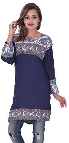 Indian-Blue-Color-Top-Kurta-Women-Ethnic-Tunic-Kurti-plus-size-Elephant-Print-Floral-100-Cotton