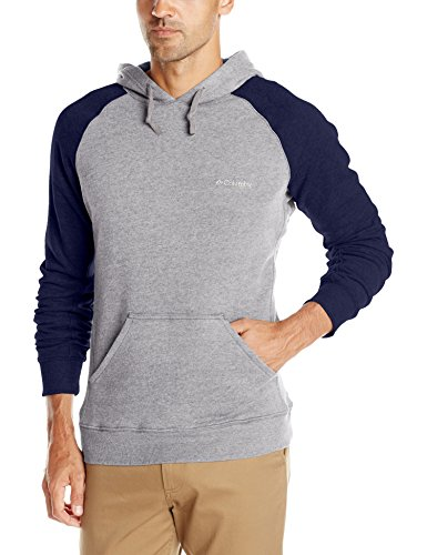 Columbia Men's Hart Mountain II Hoodie, Charcoal Heather/Collegiate Navy, Large