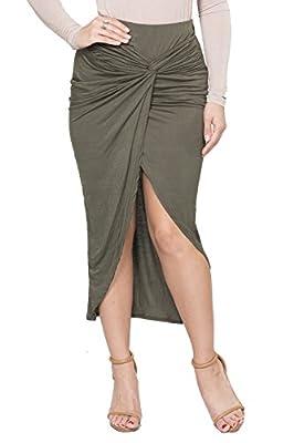 ICONOFLASH Maxi Tulip Skirt for Women - Draped Wrap High Low Bodycon with Asymmetrical Hem