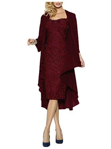 Ballkleid Kurz Braut Spitze Jacke Kleid Damen Chiffon Mutter Rot der Abendkleider mit 5FxqAnwE