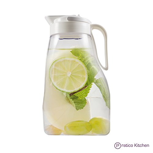LargePour Airtight Pitcher with Locking Spout and Carry Handle Japanese Made - For Water Coffee, Tea & Other Beverages - 3.2 Quarts - Clear with White Top