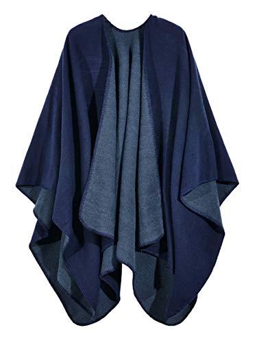 Elegante chal de color liso para mujer con bufanda, chamarra, abrigo, frontal abierto, poncho, capa de invierno, otoño,...