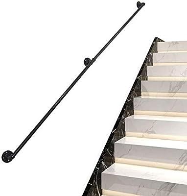 Leilims Decoración Mate Negro Carril de la Escalera de Hierro Forjado Barandilla, 1~10 pies Pasamanos for Escaleras, Industrial Pipe Seguridad pasamanos (Size : 2ft): Amazon.es: Hogar