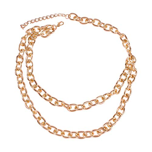 Layered Chunky Gold Necklace,Crytech Fashion Punk Rock Double Layer Thick Sweater Chain Choker Hip Hop Adjustable Cuban Heavy Metal Party Favor Collar Bib Statement for Women Hip-Hop Jewelry (Gold)