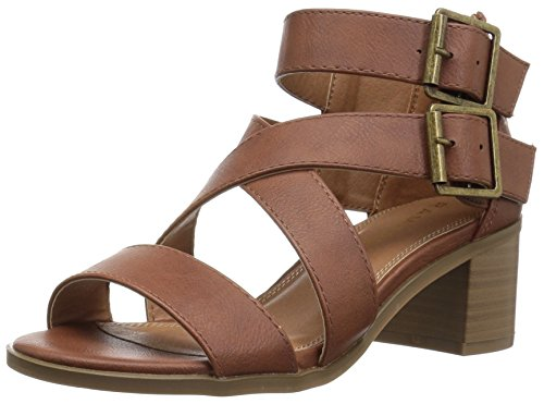 (Rampage Women's Havarti Casual Buckle Block Heel Sandal,  Cognac Smooth , 7.5 M US)