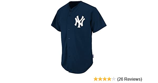 e044fddd3 Amazon.com   Majestic Authentic Sports Shop York Yankees Full-Button CUSTOM  or BLANK BACK Major League Baseball Cool-Base Replica MLB Jersey   Clothing