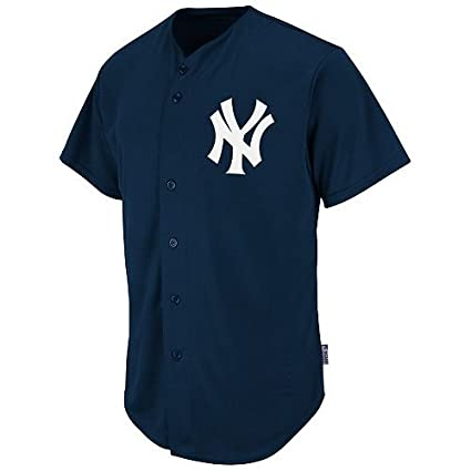 eb0c5752 Majestic Athletic New York Yankees Full-Button BLANK BACK Major League  Baseball Cool-Base