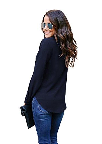 Tops Chic Bleu Longue V Chemise lgant Femme Col Blouse ASSKDAN Moussline Marine Manche CFw6Ozq