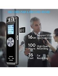 Grabadora de voz digital, TENSAFEE Grabador de audio con sonido activado de 16 GB Dictáfono, Grabadora digital portátil de HD USB con micrófono doble Soporte para tarjeta TF 32G Ampliar para conferencias   reuniones   entrevistas   clase