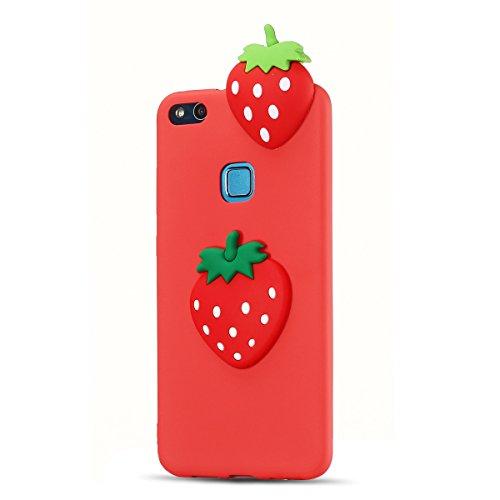 Funda Huawei P10 Lite, SpiritSun Soft Carcasa Funda Diseño Mate Opaco Ultrafina Kawaii 3D Diy Case TPU Bumper para Huawei P10 Lite (5.2 pulgadas) Suave Silicona Piel Carcasa Ultra Delgado y Ligero Gom Strawberry