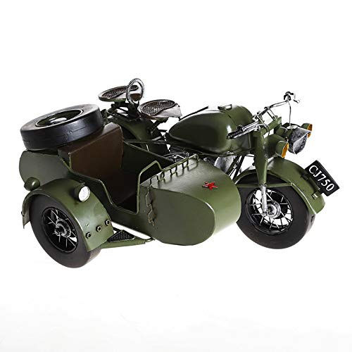 KWWA Retro Home Decoration Wrought Iron Yangtze River 750 Partial Three-Wheeled Motorcycle Military Model ()