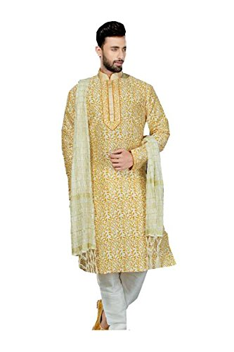 PinkCityCreations Mens Kurta Pajama Wedding Art Dupion Light Gold Printed India Party Wear Set by PinkCityCreations