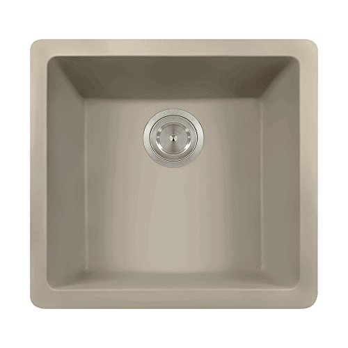 805 Dual-mount Single Bowl Quartz Kitchen Sink, Slate, No Additional Accessories
