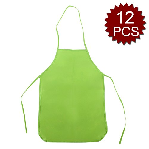 Opromo 12 Pack Non-Woven Fabrics Unisex Colorful Kids Apron for DIY Painting Artist Available in Two Sizes(S/M)-Green-M