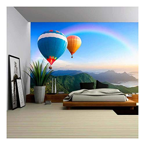 Colorful Hot Air Balloons Flying Over The Mountain