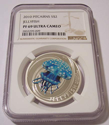 2010 PN Pitcairn Islands - 1/2 Ounce Silver Jellyfish Proof Low Mintage $2 PF69 UC NGC
