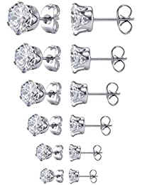 Jewelry Women's Stainless Steel Round Clear Cubic Zirconia Stud Earring (6 Pairs)