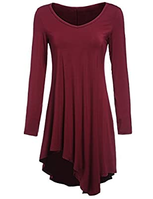 ROMWE Women's Long Sleeve Asymmetrical Tshirt Dress