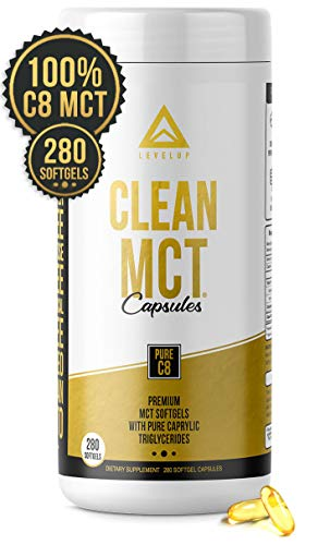 Clean MCT Oil Capsules: 100% Pure C8 Caprylic Acid Triglycerides | Best Ketogenic Diet Supplement | The Ultimate Keto Coffee Fat for Ketones | by LevelUp (280 Count)