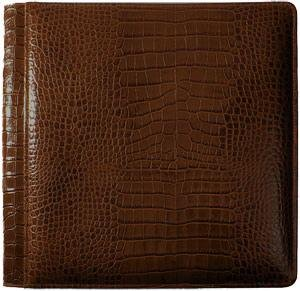 NILE BROWN crocodile print leather #133 magnetic page album by Raika - by Raika®