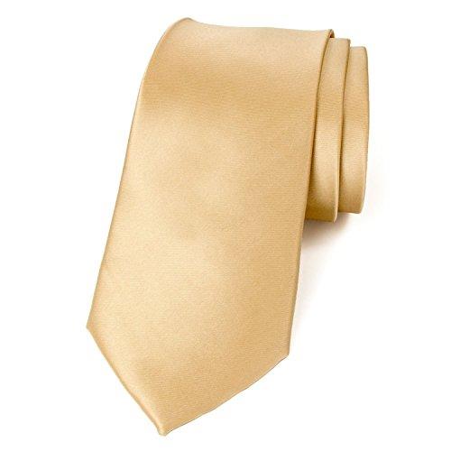 Gold Mens Tie - Spring Notion Men's Solid Color Satin Microfiber Tie, Regular Antique Gold