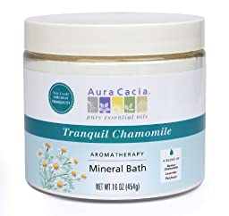 Aura Cacia Aromatherapy Mineral Bath, Tranquil Chamomile, 16 ounce jar (Pack of 2)
