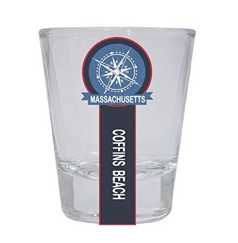 Coffins Beach Massachusetts Nautical Souvenir Round Shot Glass -