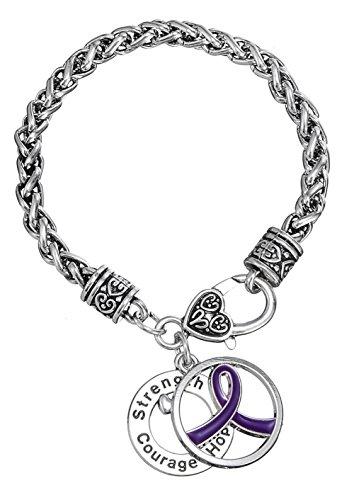 (Violet Ribbon Cancer Survivor Strength Courage Hope Pendant Awareness Bracelet for Women)
