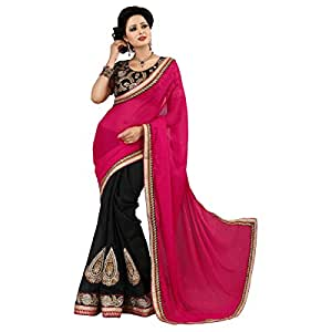 Shilp-Kala Faux Georgette,Art Silk Border Worked Black Colored Saree SKSUCL523